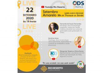 Setembro Amarelo será tema de encontro virtual promovido pela Rio Deserto