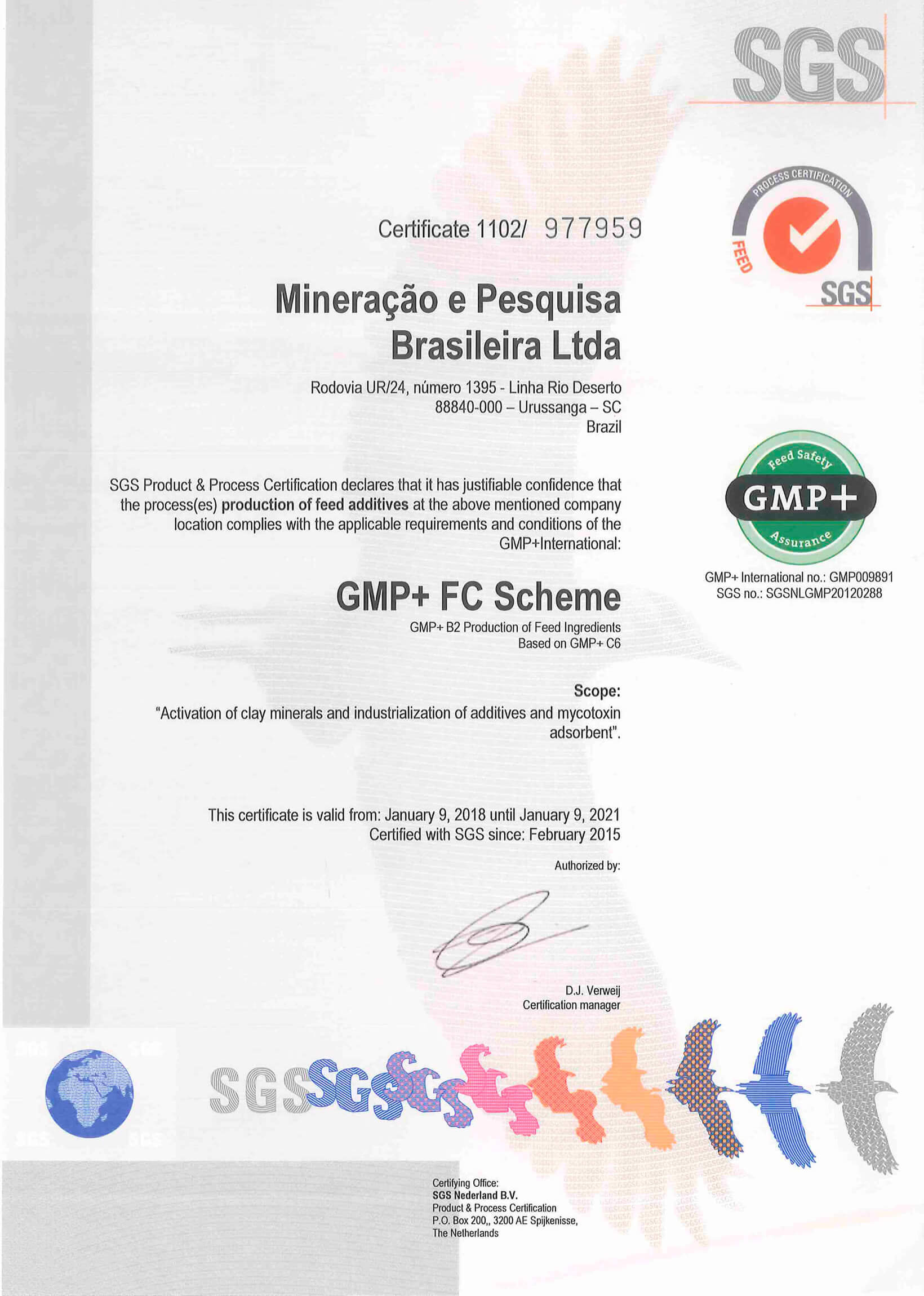 Certificada na GMP + B2 Production of Feed Ingredients